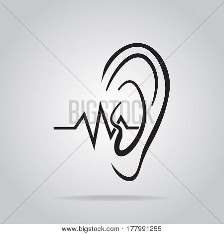 ear icon hearing and ear icon illustration