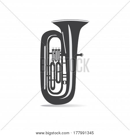 Black and white tuba isolated on white background vector illustration. Wind brass musical instrument.