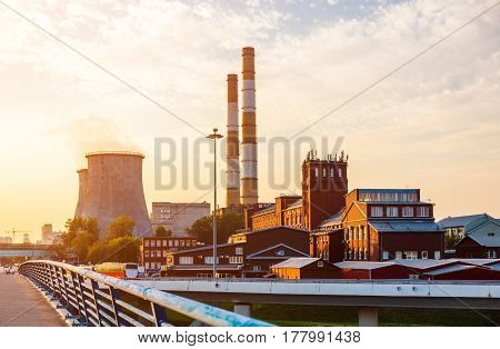 Old factory with new power station towers