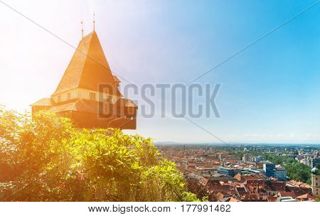 The clock tower on Schlossberg in the austian city of Graz