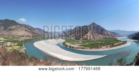 Panoramic View Of The First Bend Of The Yangtze River Near Shigu Village Not Far From Lijiang, Yunna