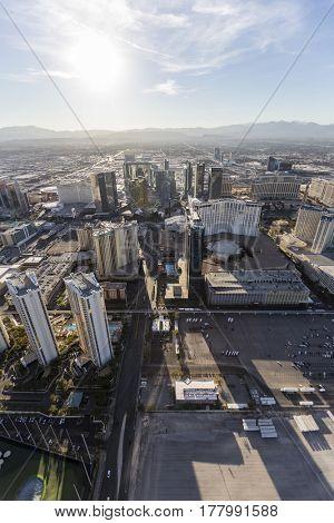 Las Vegas, Nevada, USA - March 13, 2017:  Aerial view towards resort hotel towers on the Las Vegas strip.