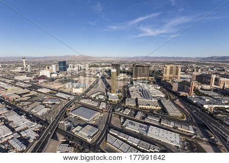 Las Vegas, Nevada, USA - March 13, 2017:  Aerial view of casino resort towers on the Las Vegas strip.