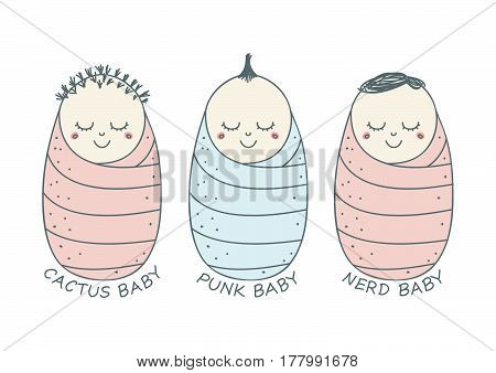 Cute vector set of three babies smiling, each with different hairstyle