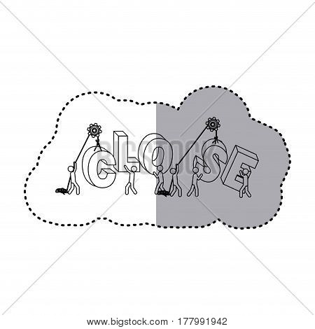 sticker silhouette with pulleys under construction close sign vector illustration