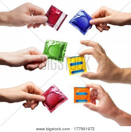Collage Condom in hand isolated on white background