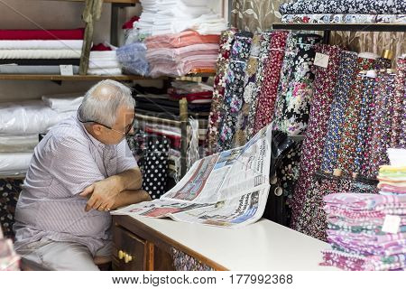 Owner At A Fabric Store In Edirne, Turkey.
