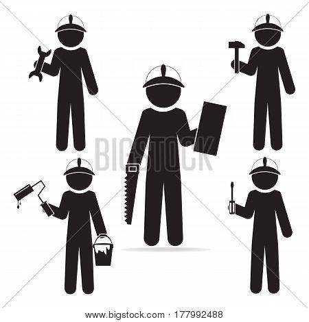 Set of mechanic icon. Repairman icon illustration