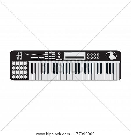 Black and white synthesizer isolated on white background. Vector illustration of electric piano musical instrument.