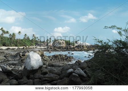 Natural rock formation on the shore in the afternoon with a white sand beach and green palm trees at the background Belitung Island Indonesia.