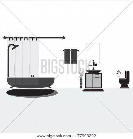 Bathroom and washbasin Bathroom interior concept illustration