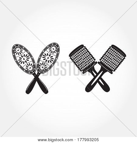 Black and White Maracas in flat design. Vector illustration of maracas isolated on white background