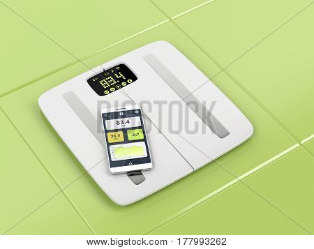 Smart body analyzer and smartphone in the bathroom, 3D illustration