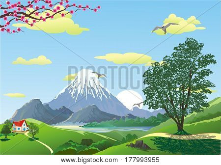 Landscape - mountain view from the hill. The volcano. The mountain ridge. House on the hill. Sunrise. Vector illustration