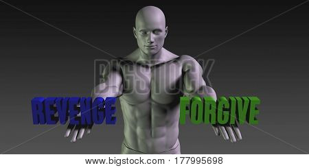 Forgive or Revenge as a Versus Choice of Different Belief 3D Illustration Render