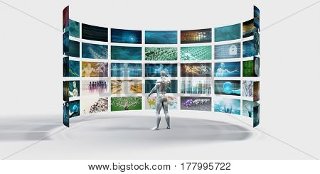 Video Wall on White Background with Person Viewing Screens 3D Illustration Render
