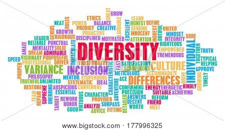 Diversity Word Cloud Concept on White