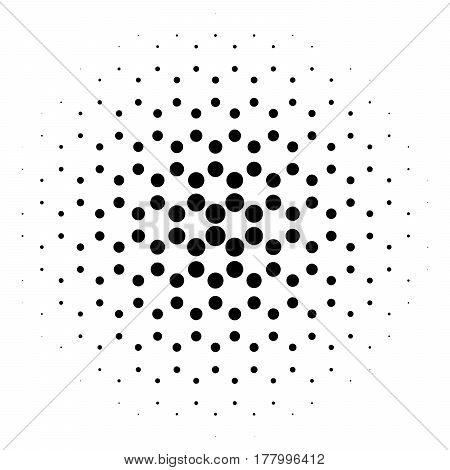 Abstract halftone circle of dots in radial hexagonal. Black and white vector illustration element.