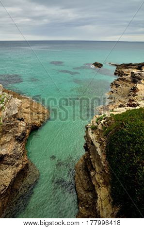 Ocean coast in the north west of Spain, Galicia region, little town of Foz, cliffs