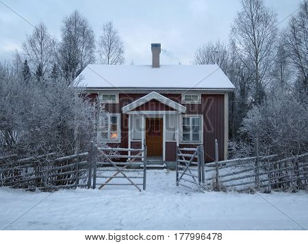 A quaint little cabin in the north of Sweden