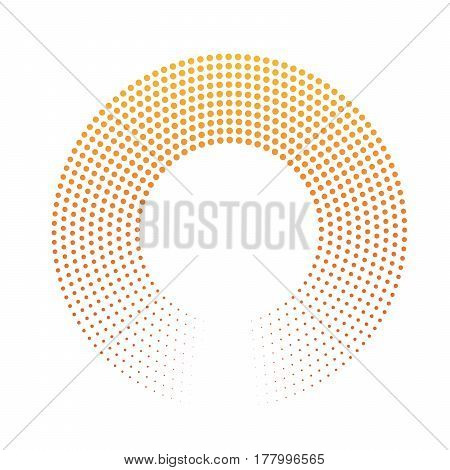 Abstract ring of dots. Halftone effect with orange-yellow sunset color gradient. Modern design vector background.