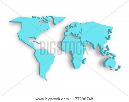 Blue 3D map of world with dropped shadow on background. Worldwide theme wallpaper. Rendered three-dimensional EPS10 vector illustration.