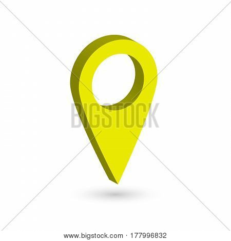 Yellow 3D map pointer with dropped shadow on white background. EPS10 vector illustration.