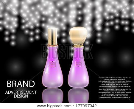 Glamorous perfume glass bottles on the sparkling effects background. Mock-up 3D Realistic Vector illustration for design template