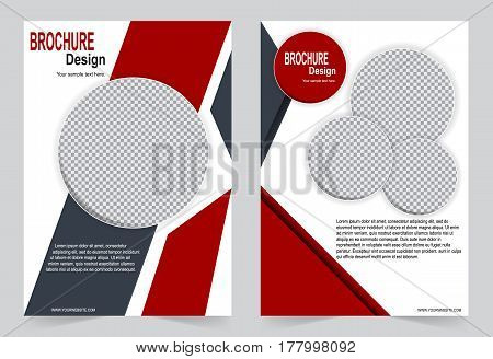 Red Brochure template flyer design abstract template for annual report magazine poster