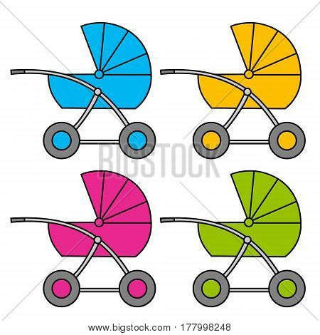Baby carriage. Multi-colored variants. Isolated object Vector Image