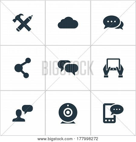 Vector Illustration Set Of Simple Newspaper Icons. Elements Broadcast, Man Considering, E-Letter And Other Synonyms Camera, Tablet And Gossip.