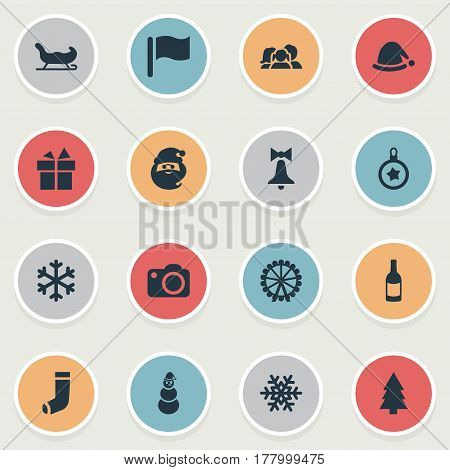Vector Illustration Set Of Simple Celebration Icons. Elements Drink Bottle, Tree Toy, Photography And Other Synonyms Snowy, Equipment And Folk.