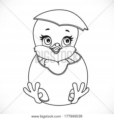 Cute Little Cartoon Chick Hatched From An Egg Outlined Isolated On A White Background