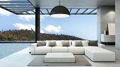 Livingroom in house style modern & loft pool villa take view mountain -3D render poster