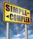 simple or complexity keep it easy and simplify solve difficult problems with simplicity or complex solution   3D, illustration poster