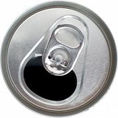 Top Down View of an Open Silver Soda Pop Can poster