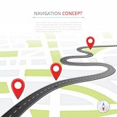 Navigation concept with pin pointer vector illustration. Cartography mapping, ui pinning, discovery, geotag, tourism geolocation. GPS navigation system banner. Location pin on perspective city map. poster