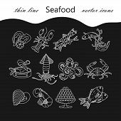 Seafood thin line vector icons set. Symbols of various delicacies - oyster, cancer, molluscs, mussels, eel, caviar, anchovies, octopus and dorado poster