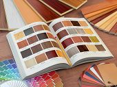 Interior design and house renovations concept. Catalog of wood samples, color palette and leather swatches. 3d illustration poster