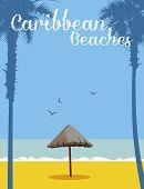 Sunshade made of palm tree (parasol) in playa del caribe poster
