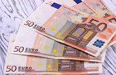 Fifty euro banknotes on white wooden background poster