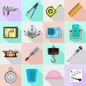 Measure precision icons set. Flat illustration of 16 measure precision icons set vector icons for web poster