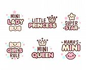 Cute Kawaii emoticons with text Mini Lady, Little Princess, Queen, for t-shirt print, vector style composition with lettering isolated on white poster