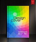 Cover design for Annual Report, Catalog or Magazine, Book or Brochure, Booklet or flyer. Layout template in A4 with triangular elements. Creative concept in bright colors. Vector Illustration poster
