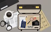 Vector illustration top view detective briefcase with camera passport and ticket glasses and mustache file folder with top secret and notepad. Background wallpaper detective table. poster