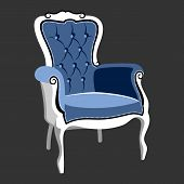 Riverside Baroque Royal armchair. Classic French furniture. Rococo armchair vector illustration isolated on gray poster