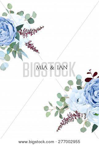 Dusty Blue Rose, White Hydrangea, Ranunculus, Anemone, Eucalyptus, Burgundy Astilbe Vector Design Fr