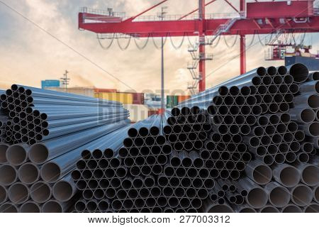 Metallurgy industry concept. Many steel pipes stacked. 3D rendered illustration. poster