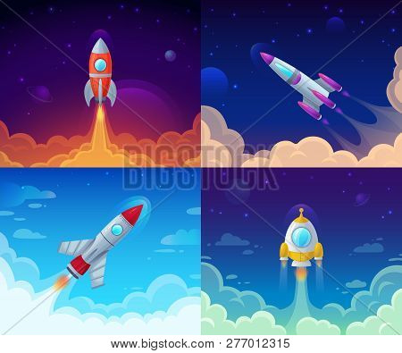 Rocket Launch. Space Travel, Galaxy Rocketship And Business Plan Success Start Vector Cartoon Concep