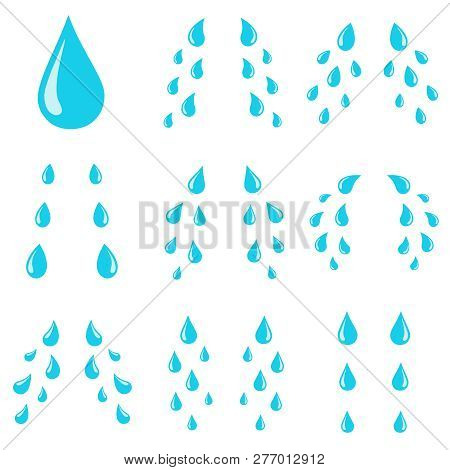 Tears Drops. Sorrow Weeping Cry Streams, Tear Blob Or Sweat Drop. Stream Of Crying Wet Eyes Tears Is